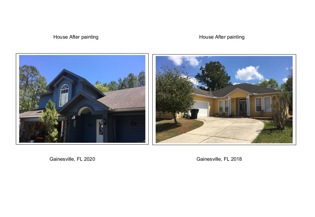 Two houses after painting Gainesville, FL 2018 & 2020