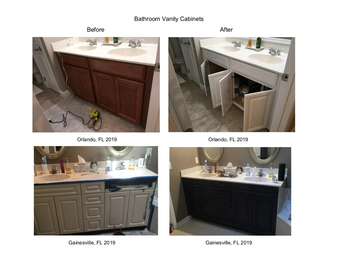 Bathroom Vanity Cabinets Before & After Orlando & Gainesville, FL 2019