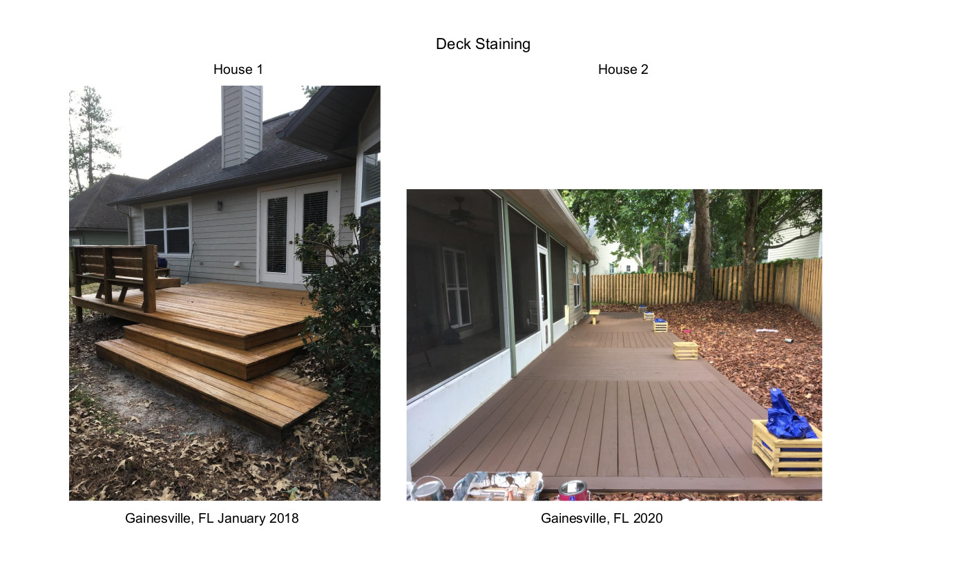 Deck Staining two Houses 2018 & 2020