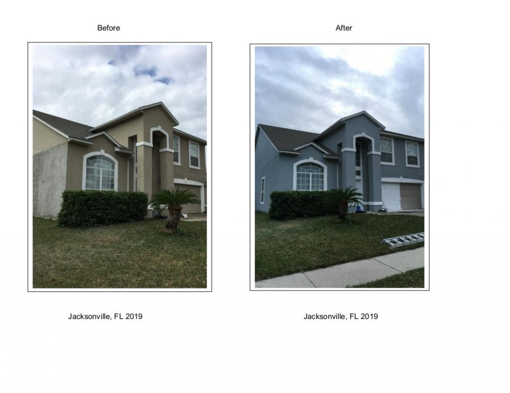 exterior house paint Jax, FL before and after