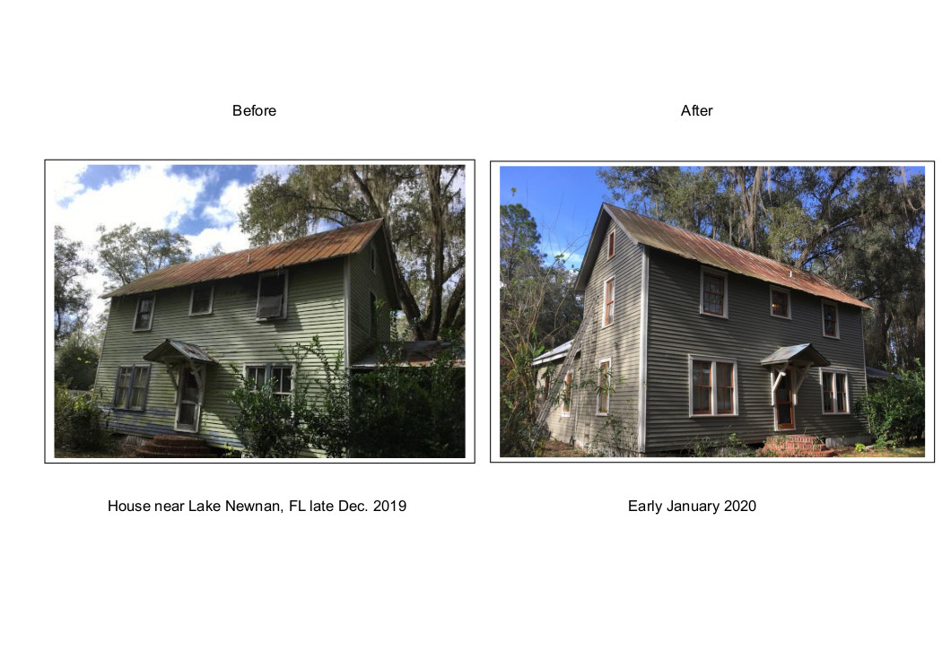 exterior house Lake Newnan, FL before and after Dec. 2019 - Jan. 2020
