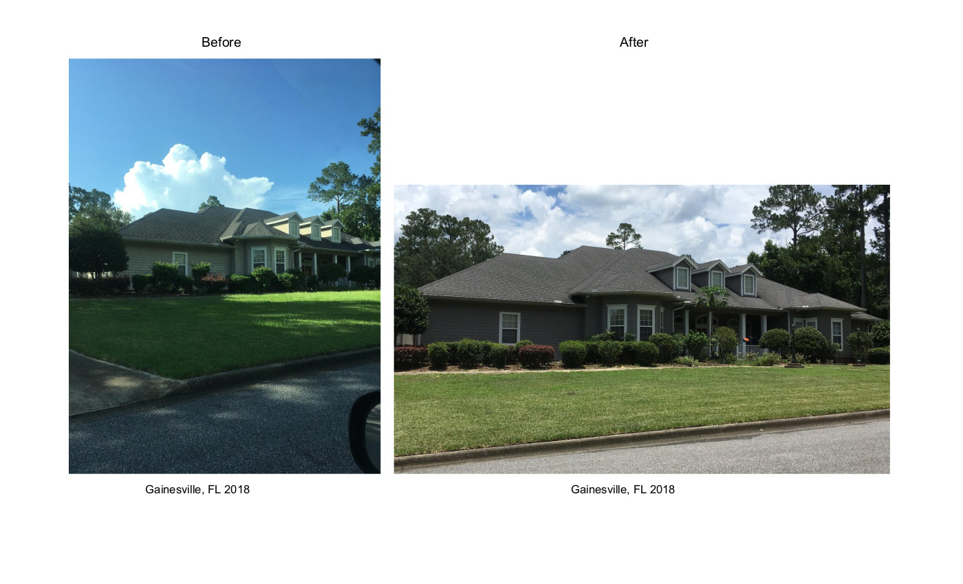 Exterior House Before & After W. Gainesville FL 2018 July rev