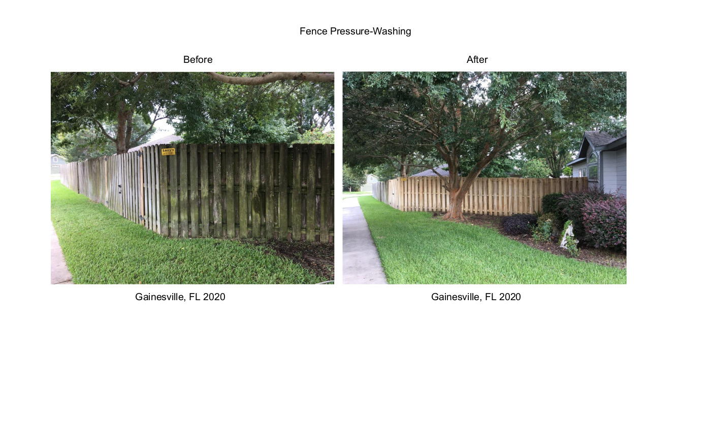 Fence Pressure Wash Before & After Gainesville FL 2020