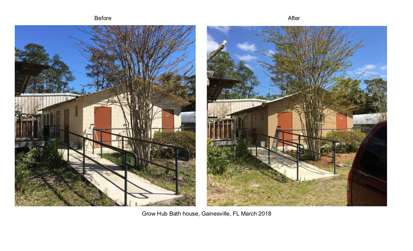 Grow Hub Bathhouse Gainesville FL Before & After Volunteer 2018